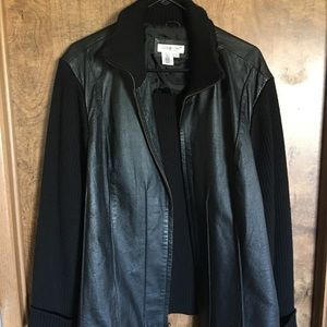 Gently used Leather/Knit Fabric Jacket 3XL